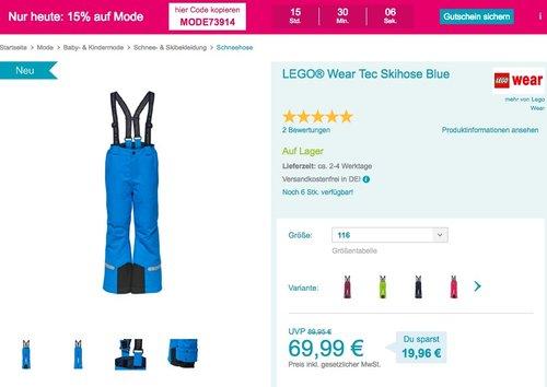 Babymarkt.de - 15% Rabatt auf Mode am 5.11.18: z.B. LEGO® Wear Tec Skihose - jetzt 34% billiger