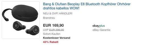 Bang & Olufsen Beoplay E8 Bluetooth Kopfhörer - jetzt 13% billiger