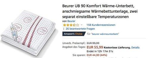 Beurer UB 90 Komfort Wärme-Unterbett, 150 x 80 cm - jetzt 26% billiger