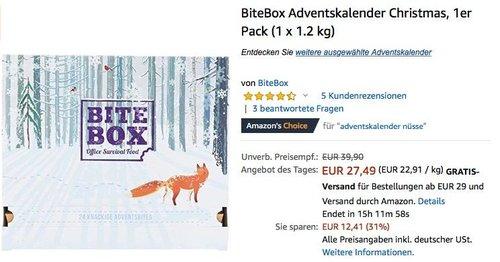BiteBox Christmas Adventskalender mit 24 hochwertigen Snacks - jetzt 31% billiger