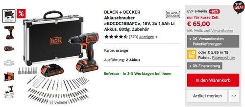 "BLACK + DECKER 18V Akkuschrauber-Set ""BDCDC18BAFC"" mit 2x 1,5Ah Li Akkus, 80tlg. Zubehör - jetzt 32% billiger"