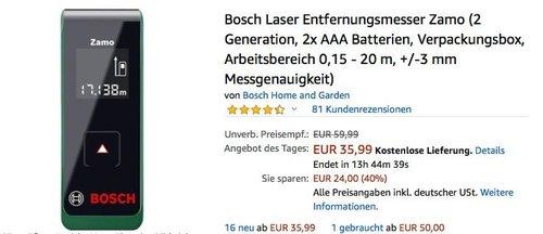 Bosch Laser Entfernungsmesser Zamo (2 Generation, Arbeitsbereich 0,15 - 20 m, +/-3 mm Messgenauigkeit) - jetzt 17% billiger