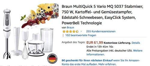 Braun MultiQuick 5 Vario MQ 5037 Stabmixer inkl. Kartoffel- und Gemüsestampfer - jetzt 22% billiger
