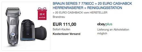 Braun Series 7 7790cc Herrenrasierer + 20€ Cashback - jetzt 16% billiger