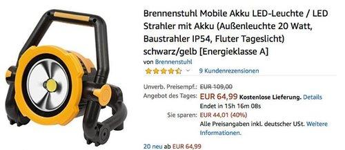 Brennenstuhl Mobile Akku LED-Leuchte/Strahler 20 Watt - jetzt 25% billiger