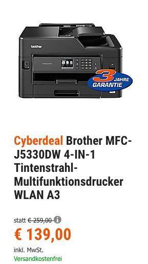 Brother MFC-J5330DW 4-IN-1 A3 Tintenstrahl-Multifunktionsdrucker - jetzt 10% billiger