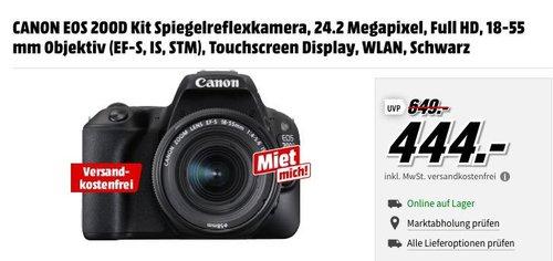 CANON EOS 200D Kit Spiegelreflexkamera 24.2 Megapixel mit 18-55 mm Objektiv (EF-S, IS, STM) - jetzt 14% billiger