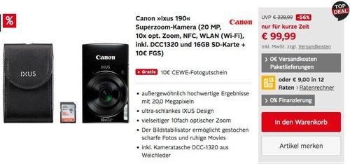 Canon IXUS 190 Digitalkamera inkl. Kameratasche DCC1320 und 16GB SD-Karte + 10€ FGS - jetzt 20% billiger