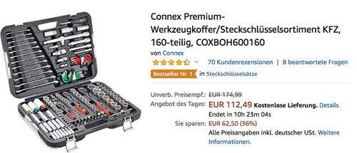 Connex KFZ Premium-Werkzeugkoffer/Steckschlüsselsortiment, 160-teilig - jetzt 21% billiger