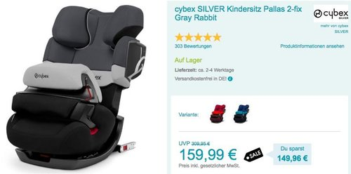 cybex SILVER Kindersitz Pallas 2-fix Gray Rabbit - jetzt 13% billiger