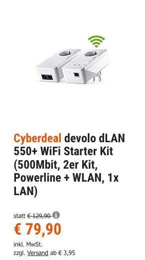 devolo dLAN 550+ WiFi Starter Kit (500Mbit, Powerline + WLAN, 1x LAN) - jetzt 10% billiger