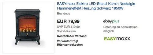 EASYmaxx Nostalgie Elektro-Kamin mit realistischem Flammeneffekt - jetzt 19% billiger