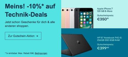 Ebay - 10% Rabatt auf ausgewählte Technik: z.B. HP 15-da0403ng Notebook ( i5, 256GB SSD, 8 GB RAM, ohne Windows) - jetzt 10% billiger