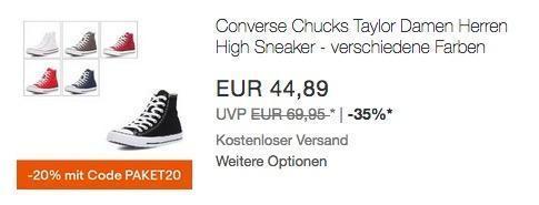 Ebay - 20% Rabatt auf ausgewählte Artikel: z.B. Converse Chuck Taylor Sneaker High Top Unisex - jetzt 20% billiger