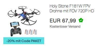 Ebay - 20% Rabatt auf ausgewählte Geschenkideen: z.B. Holy Stone F181W FPV Drohne mit FOV 720P inkl. 3 Akkus - jetzt 20% billiger