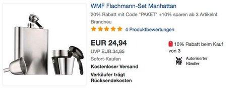 Ebay - 20% Rabatt auf ausgewählte Geschenkideen: z.B. WMF Flachmann-Set Manhattan - jetzt 20% billiger
