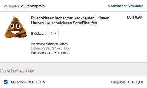 eBay - 5€ Rabattaufausgewählte Artikel unter 20€: z.B. Plüschkissen lachender Kackhaufen - jetzt 56% billiger