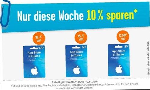 EDEKA: 10 % Rabatt auf iTunes Geschenkkarten (bis 10.11.18) - jetzt 10% billiger