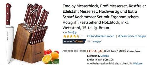 Emojoy Messerblock 15-teilig inkl. Wetzstahl - jetzt 21% billiger