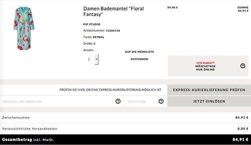 """Engelhorn - 15% Extra-Rabatt auf ausgewählte Wäsche: z.B. PiP Studio Damen Bademantel """"Floral Fantasy"""" - jetzt 15% billiger"""