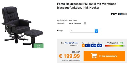 Femo Relaxsessel FM-451M mit Vibrations- und Massagefunktion, inkl. Hocker - jetzt 13% billiger