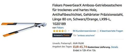 Fiskars LX99-L PowerGearX Amboss-Getriebeastschere für trockenes und hartes Holz - jetzt 26% billiger