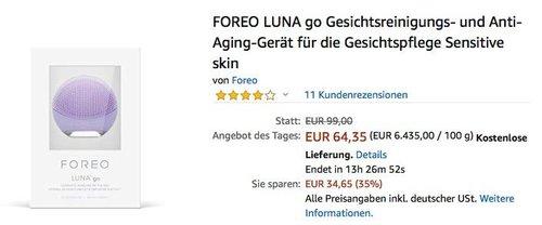 FOREO LUNA go Gesichtsreinigungs- und Anti-Aging-Gerät - jetzt 19% billiger