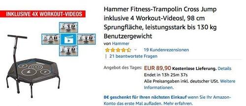 Hammer Cross Jump 98 cm Fitness-Trampolin inklusive 4 Workout-Videos - jetzt 14% billiger