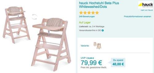 hauck Hochstuhl Beta Plus Whitewashed/Dots - jetzt 11% billiger