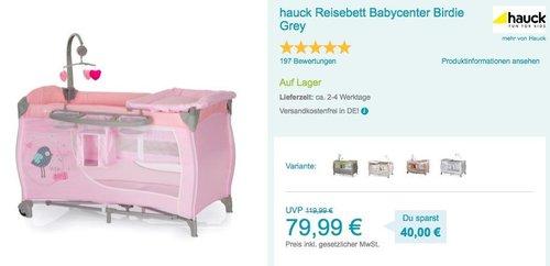 hauck Reisebett Babycenter Birdie Grey - jetzt 15% billiger