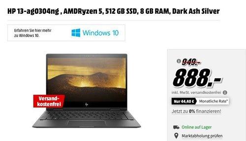 HP ENVY x360 (13-ag0304ng) 2in1 Convertible mit 13.3 Zoll Display, AMD Ryzen 5 2500U, 8 GB RAM, 512 GB SSD - jetzt 6% billiger