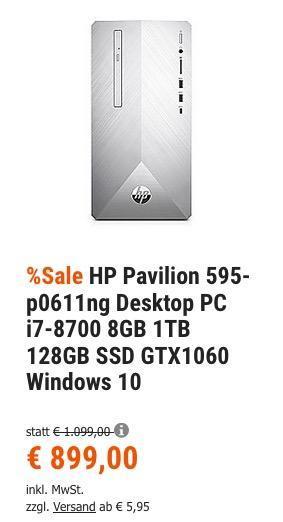 HP Pavilion 595-p0611ng Desktop PC ( i7-8700, 8GB Ram, 1TB HDD, 128GB SSD, GTX1060, Windows 10 ) - jetzt 15% billiger