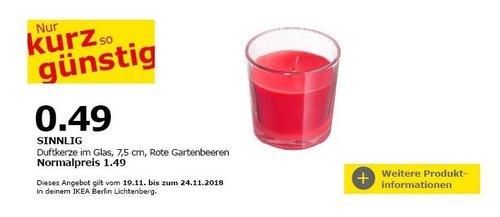 IKEA Berlin-Lichtenberg - SINNLIG Duftkerze im Glas - jetzt 67% billiger