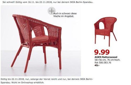 IKEA Berlin-Spandau - AGEN Rattansessel rot - jetzt 78% billiger