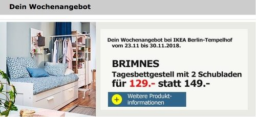 IKEA Berlin-Tempelhof - BRIMNES Tagesbettgestell mit 2 Schubladen - jetzt 13% billiger