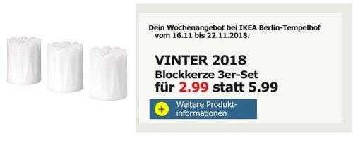 IKEA Berlin-Tempelhof - VINTER 2018 Blockkerze 3er-Set - jetzt 50% billiger
