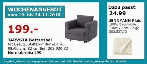IKEA Bielefeld - JÄRVSTA Bettsessel, dunkelgrau - jetzt 33% billiger