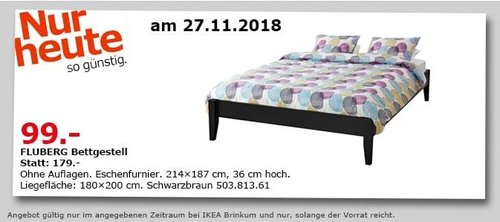 IKEA Brinkum - FLUBERG Bettgestell, 214x187 cm - jetzt 45% billiger