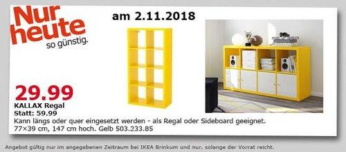 IKEA Brinkum - KALLAX Regal, 77x39x147 cm, gelb - jetzt 50% billiger