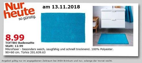 IKEA Brinkum - TOFTBO Badematte, 90x60 cm, türkis - jetzt 31% billiger