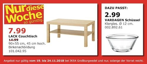 IKEA Großburgwedel - LACK Couchtisch, 90x55 cm, 45 cm hoch - jetzt 47% billiger