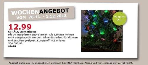 IKEA Hamburg-Altona - STRALA Lichterkette, 24 LED-Sternen - jetzt 35% billiger