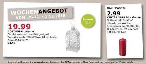 IKEA Hamburg-Moorfleet - GOTTGÖRA Laterne für drinnen und draußen - jetzt 20% billiger