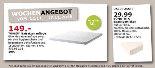 IKEA Hamburg-Moorfleet - TUSSÖY Matratzenauflage, 180x200 cm - jetzt 25% billiger