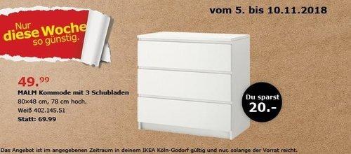 IKEA Köln-Godorf - MALM Kommode mit 3 Schubladen - jetzt 29% billiger
