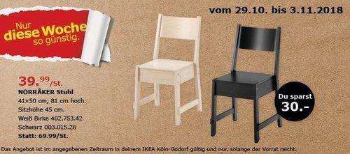 IKEA Köln-Godorf - MORRAKER Stuhl, schwarz oder weiß - jetzt 43% billiger