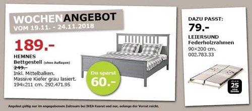IKEA Kaarst - HEMNES Bettgestell, 194x211 cm, grau - jetzt 24% billiger
