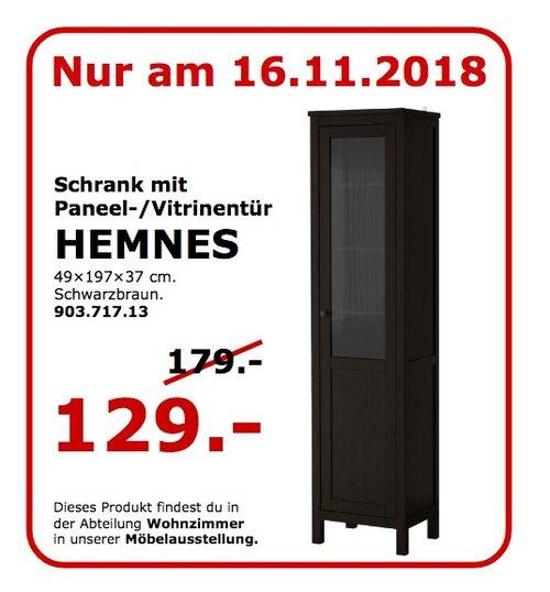 IKEA Koblenz - HEMNES Schrank mit Pannen-/Vitrinentür, schwarzbraun - jetzt 28% billiger