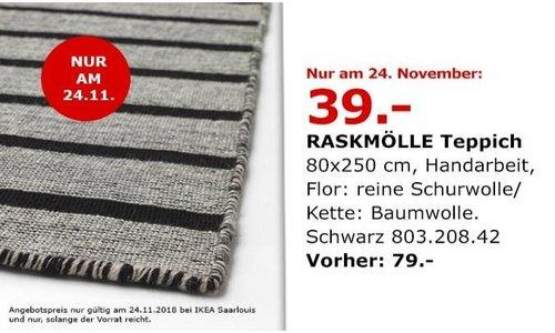 IKEA Saarlouis - RASKMÖLLE Teppich, 80x250 cm, schwarz - jetzt 51% billiger