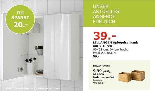IKEA Sindelfingen - LILLANGEN Spiegelschrank mit 2 Türen - jetzt 34% billiger